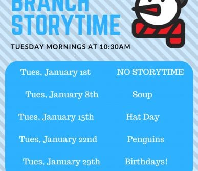 South Branch Storytime January 2019