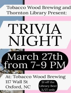 Trivia Night: Tobacco Wood and Brewing @ Tobacco Wood Brewing