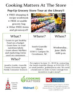Cooking Matters-South Branch @ South Branch Library
