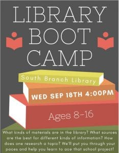 Library Boot Camp @ South Branch Library