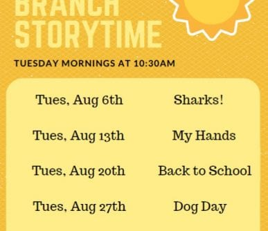 South Branch Storytime August 2019