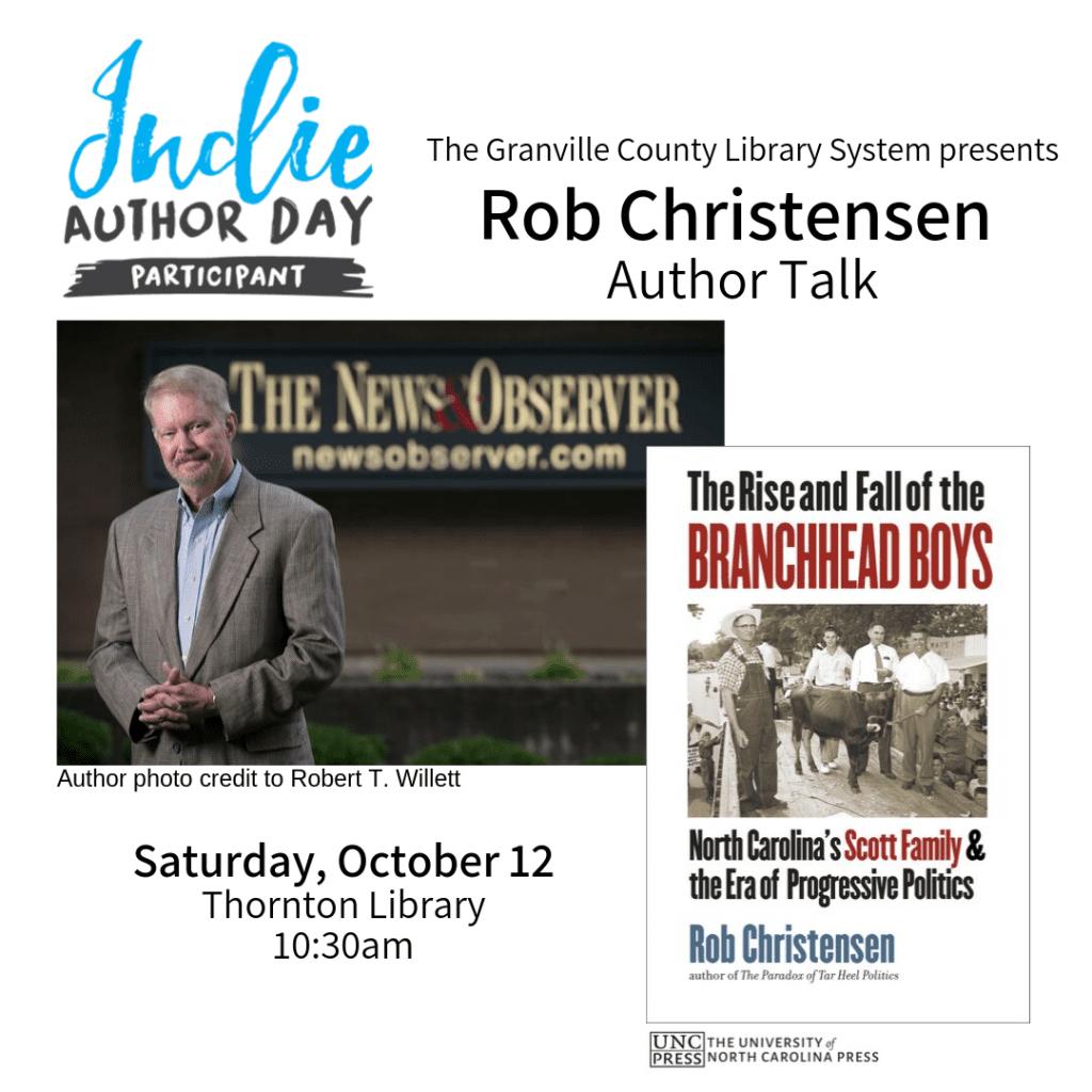 Indie Author Day: Rob Christensen Author Talk @ Thornton Library