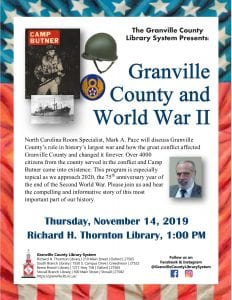 Granville County and World War ll @ Thronton Library