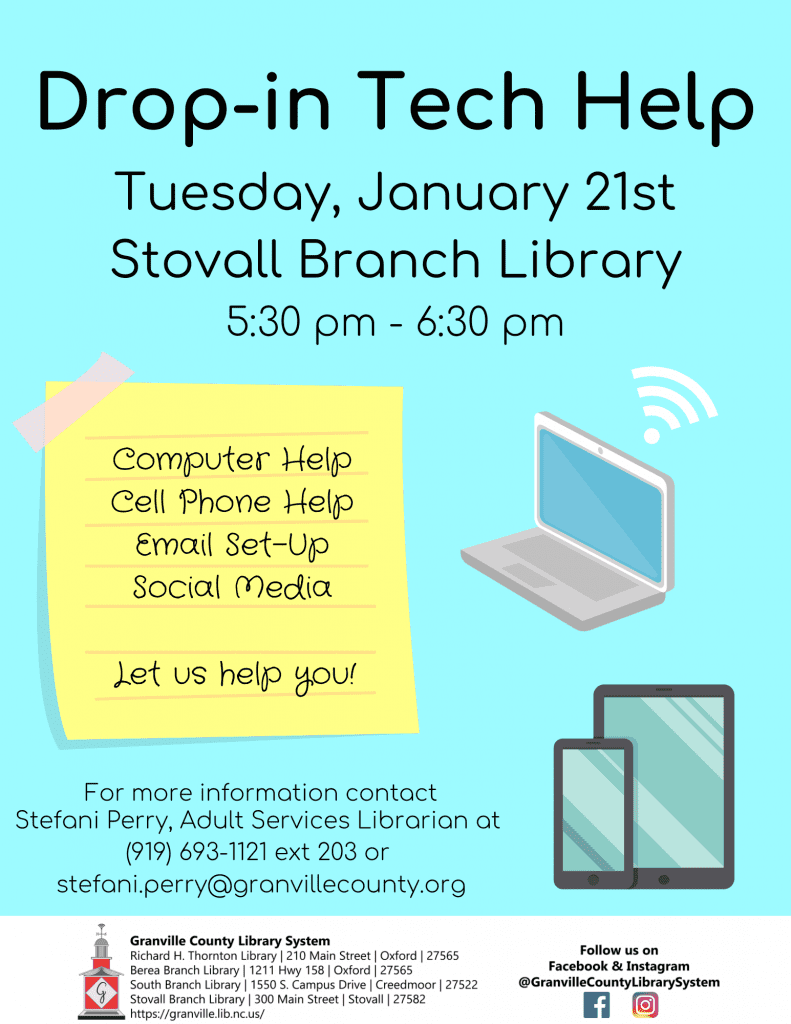 Drop-in Tech Help @ Stovall Branch Library