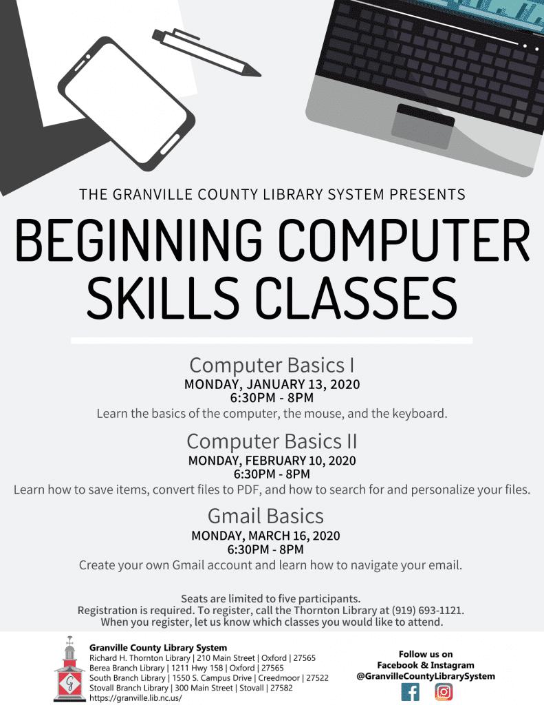 Beginning Computer Skills Classes: Computer Basics I @ Thornton Library