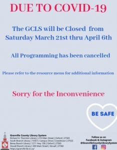 GCLS Programming Cancelled