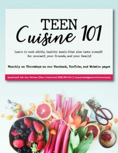Teen Cuisine 101 @ GCLS Facebook Page and Website