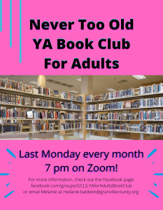 Never Too Old: YA Book Club for Adults @ GCLS Facebook Page