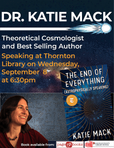 Book Discussion: Author, Dr. Katie Mack @ Richard H. Thornton Library